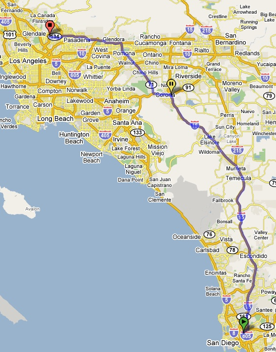 Map of the Route from San Diego to Los Angeles via I-15